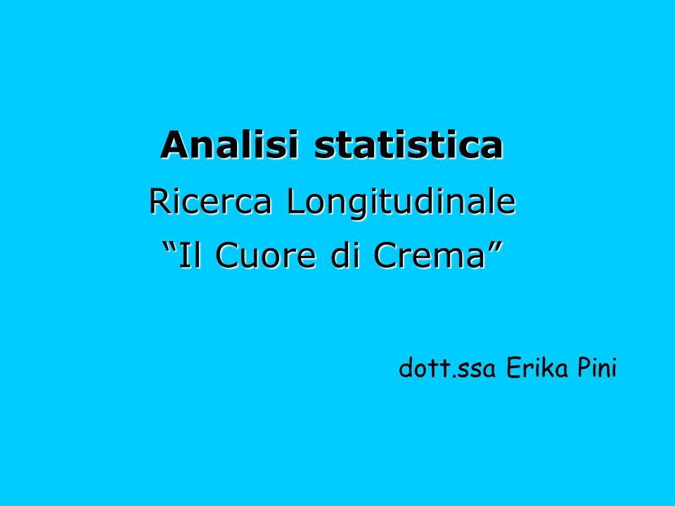 Analisi statistica Ricerca Longitudinale Il Cuore di Crema
