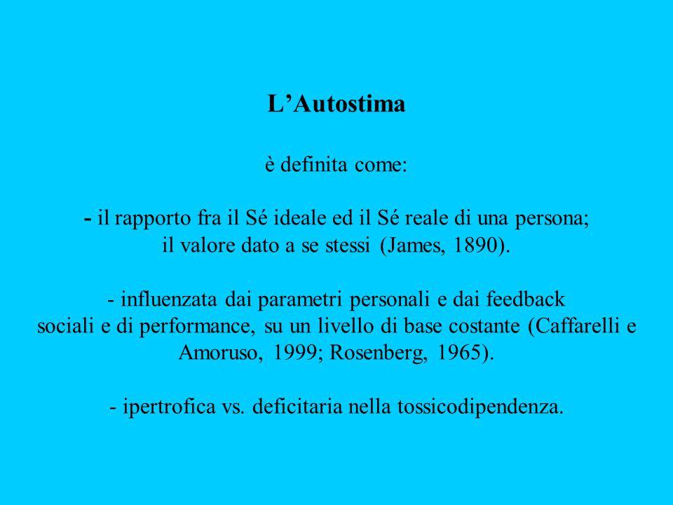 L'Autostima è definita come: - il rapporto fra il Sé ideale ed il Sé reale di una persona; il valore dato a se stessi (James, 1890).