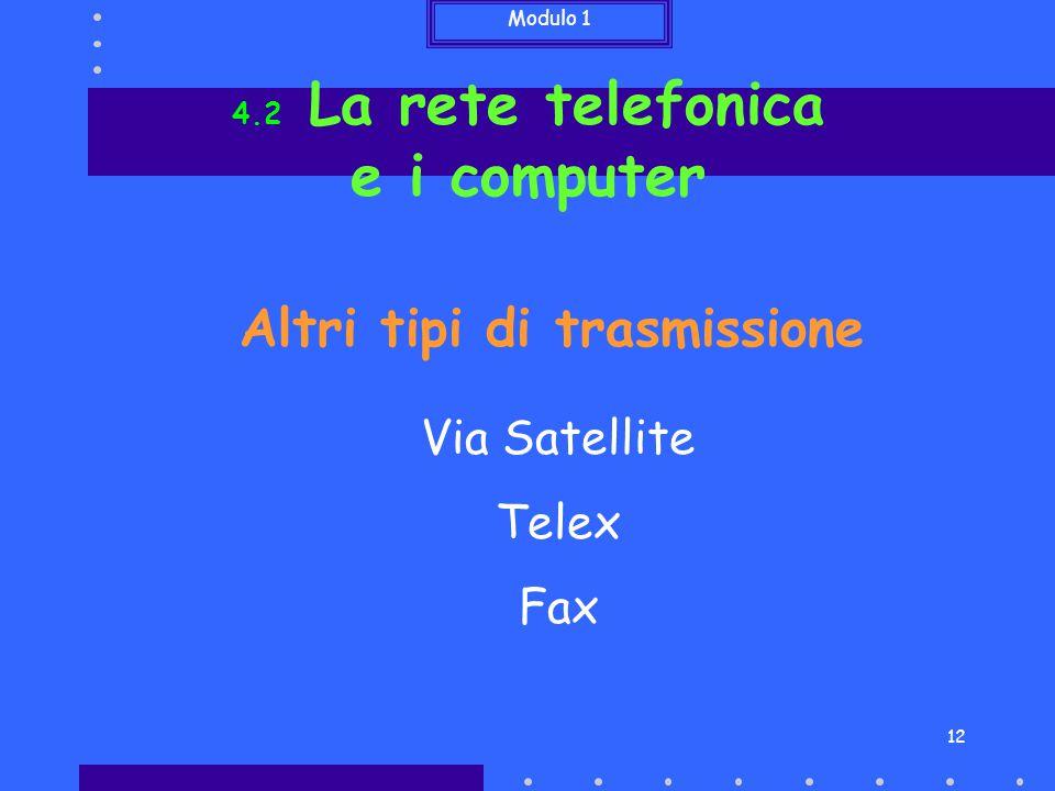 e i computer Altri tipi di trasmissione Via Satellite Telex Fax