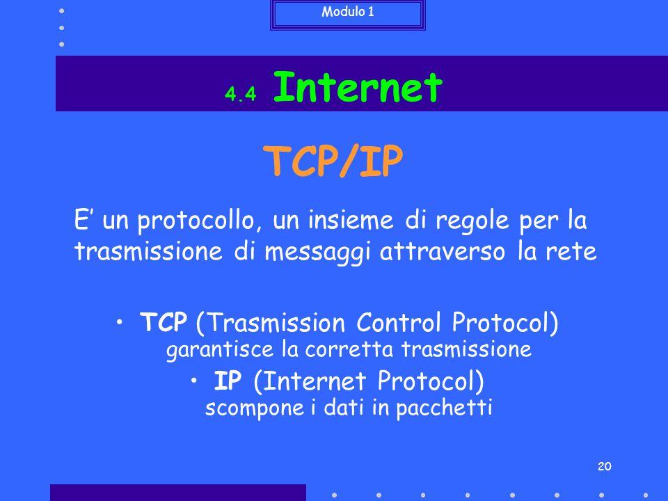 4.4 Internet TCP/IP. E' un protocollo, un insieme di regole per la trasmissione di messaggi attraverso la rete.