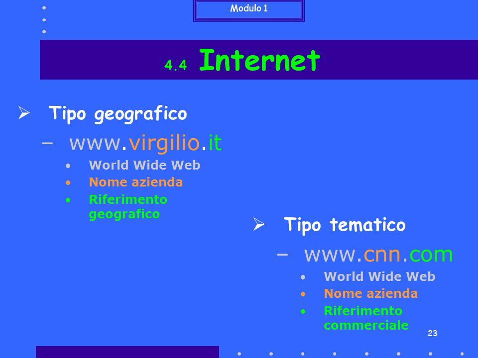 www.virgilio.it www.cnn.com Tipo geografico Tipo tematico 4.4 Internet