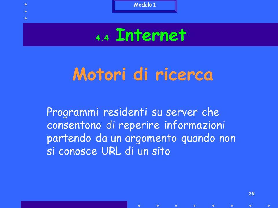 4.4 Internet Motori di ricerca.