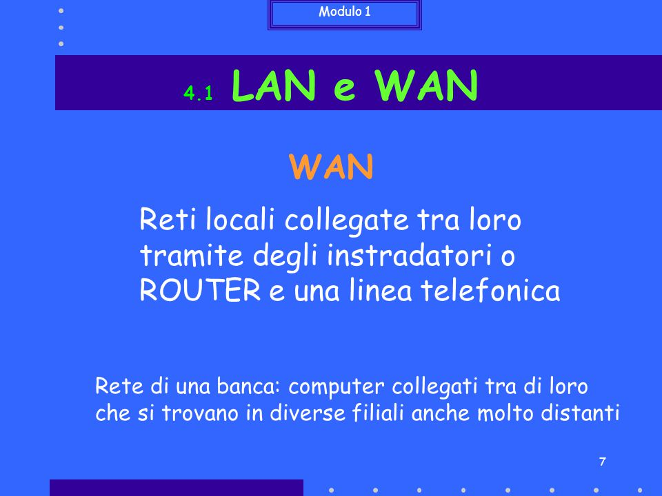 4.1 LAN e WAN WAN. Reti locali collegate tra loro tramite degli instradatori o ROUTER e una linea telefonica.