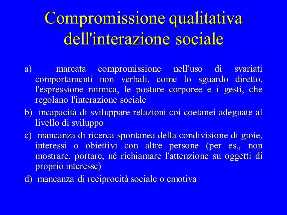 Compromissione qualitativa dell interazione sociale