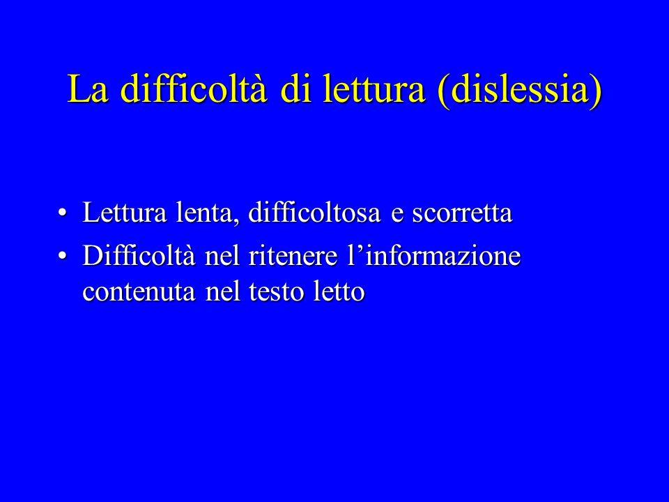 La difficoltà di lettura (dislessia)