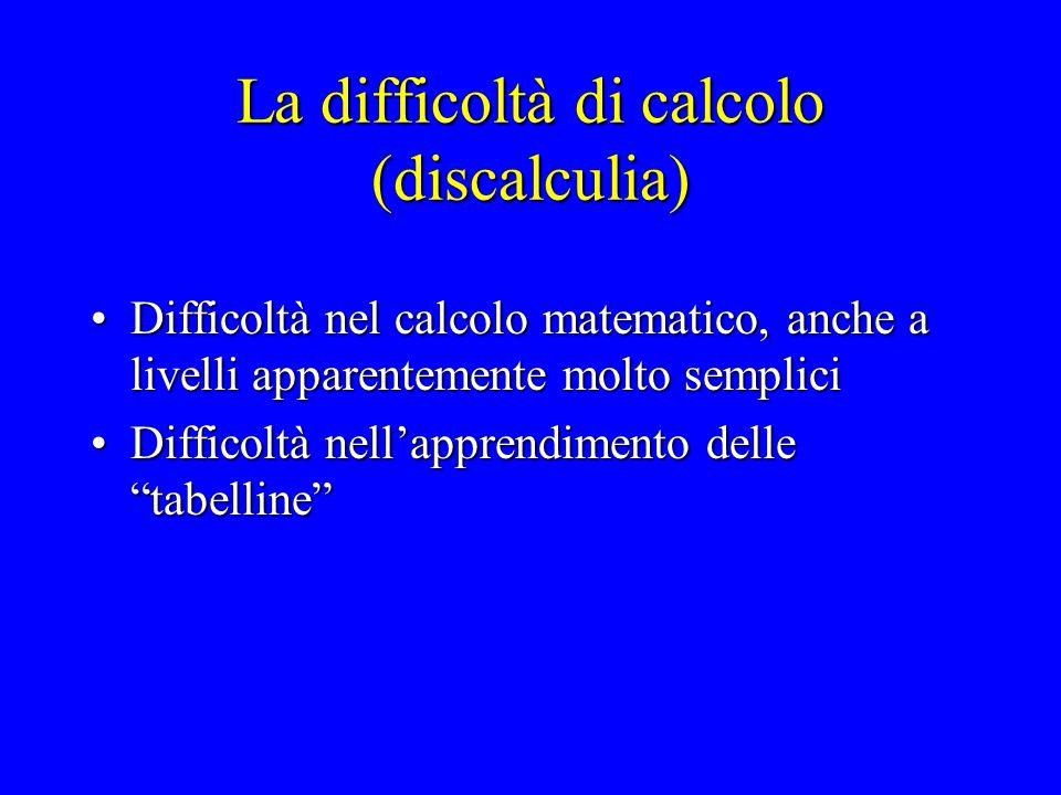 La difficoltà di calcolo (discalculia)
