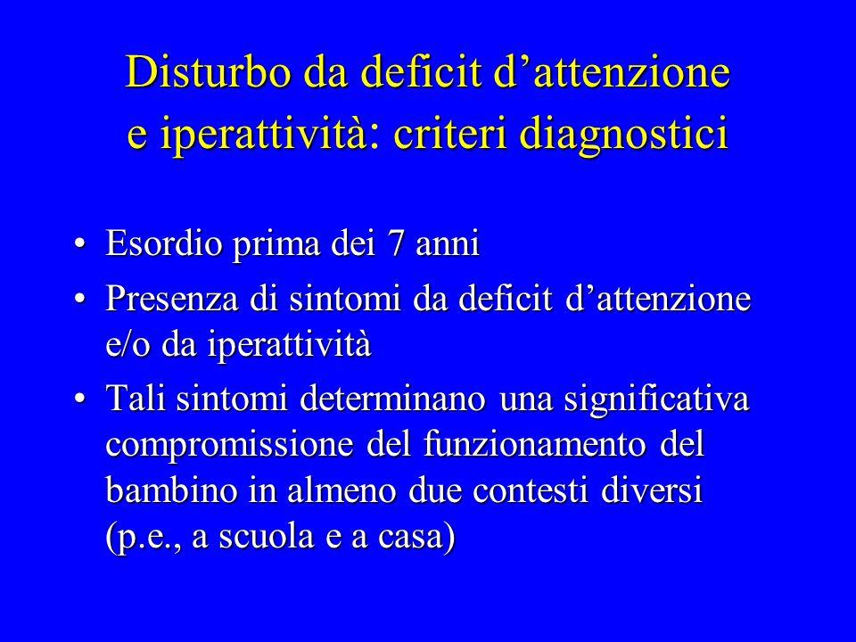 Disturbo da deficit d'attenzione e iperattività: criteri diagnostici