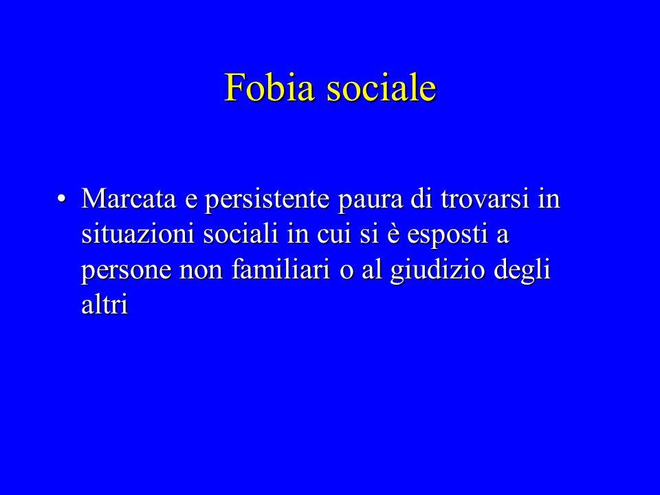 Fobia sociale Marcata e persistente paura di trovarsi in situazioni sociali in cui si è esposti a persone non familiari o al giudizio degli altri.
