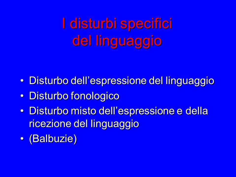 I disturbi specifici del linguaggio