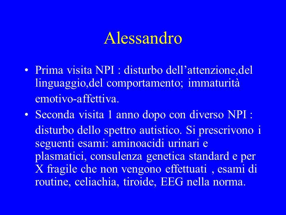 Alessandro Prima visita NPI : disturbo dell'attenzione,del linguaggio,del comportamento; immaturità.