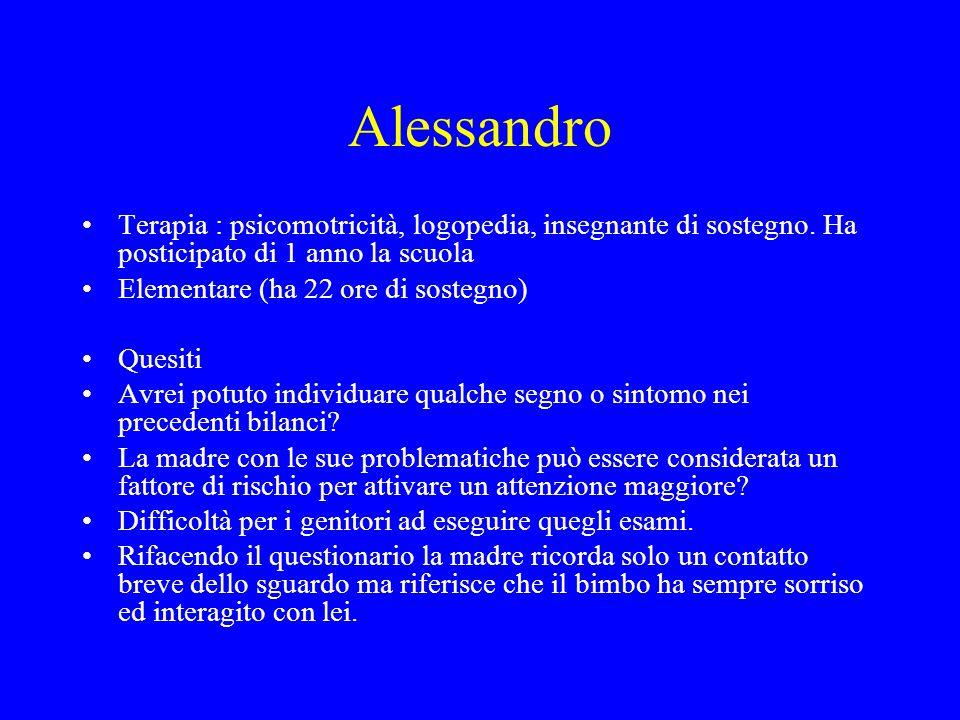 Alessandro Terapia : psicomotricità, logopedia, insegnante di sostegno. Ha posticipato di 1 anno la scuola.