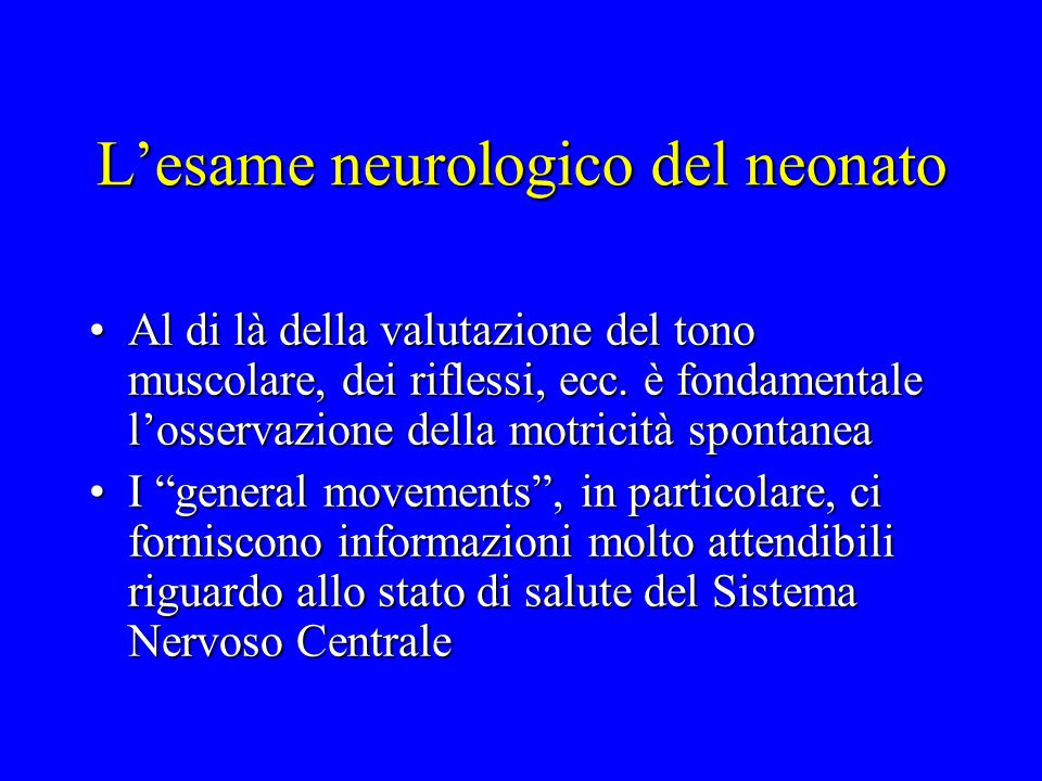 L'esame neurologico del neonato