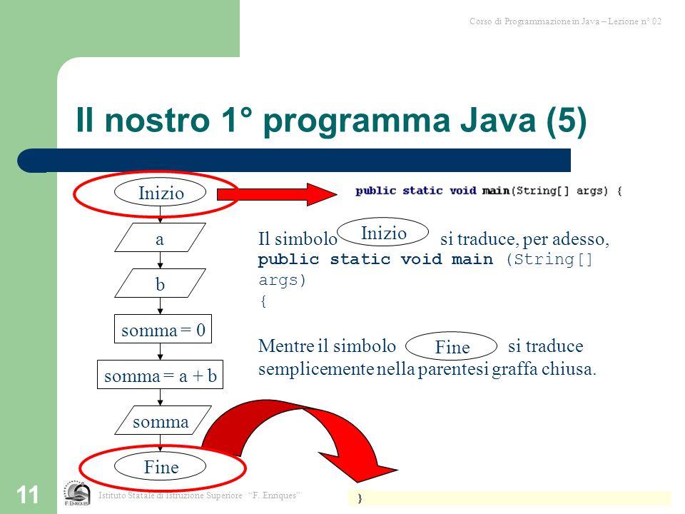 Il nostro 1° programma Java (5)