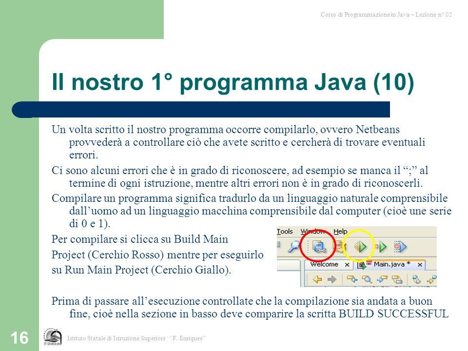 Il nostro 1° programma Java (10)