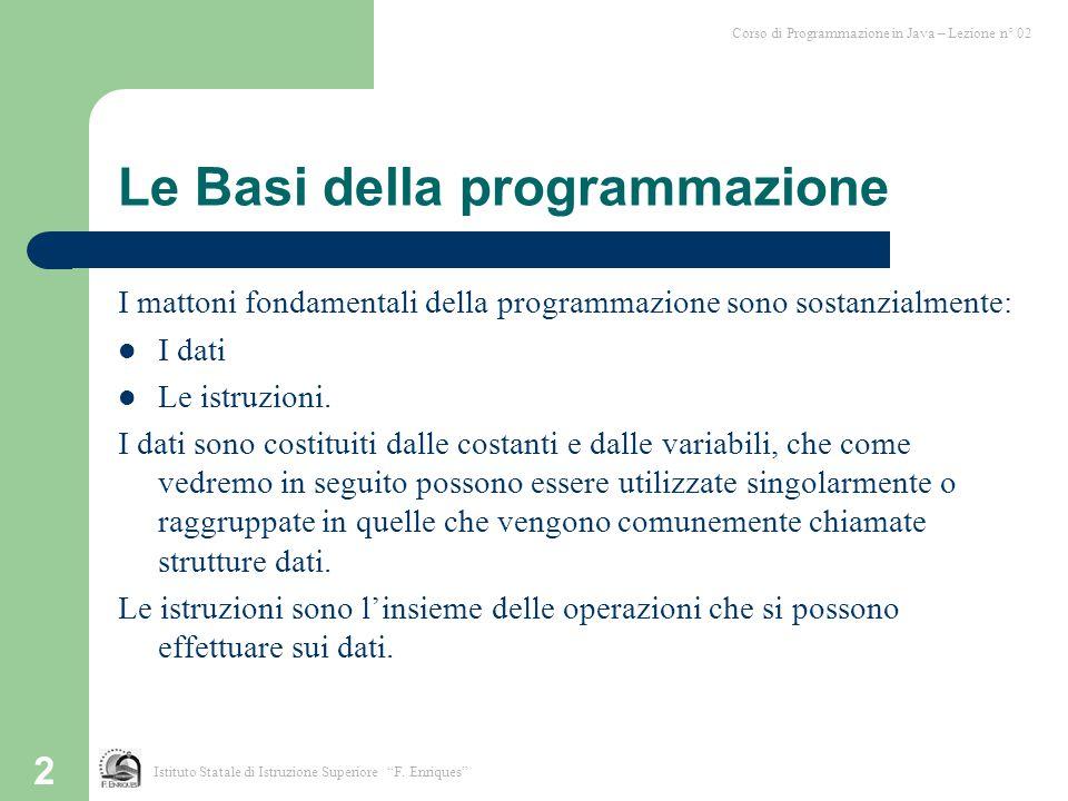 Le Basi della programmazione