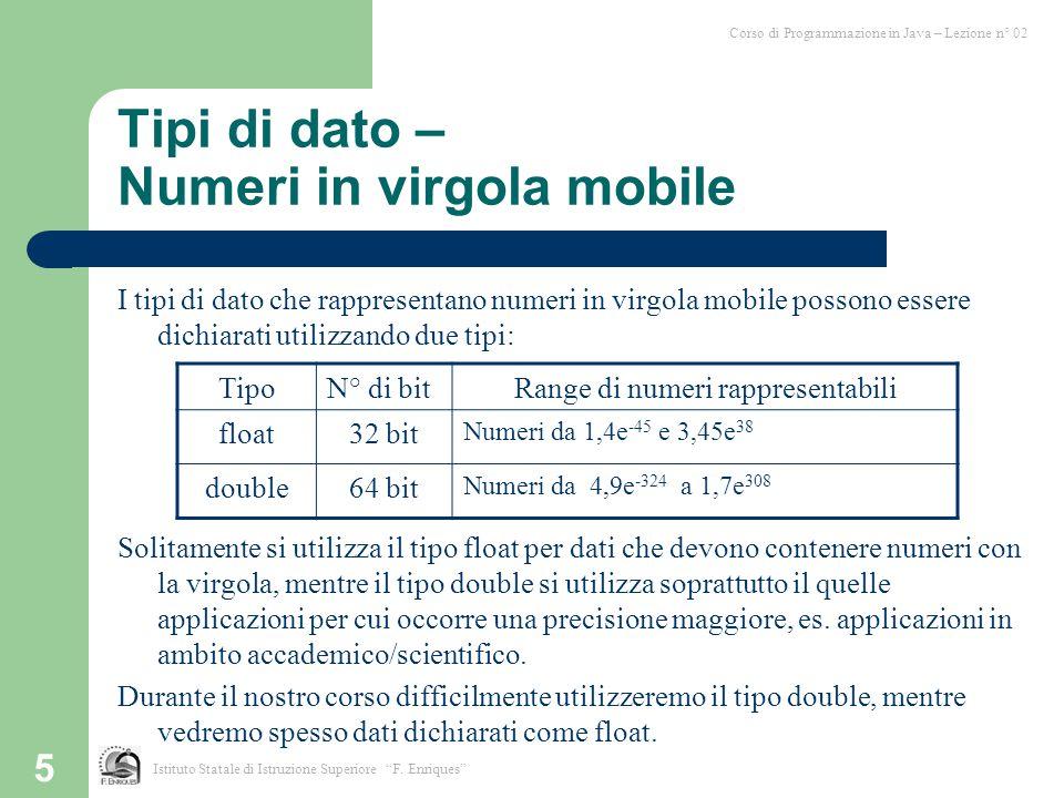 Tipi di dato – Numeri in virgola mobile