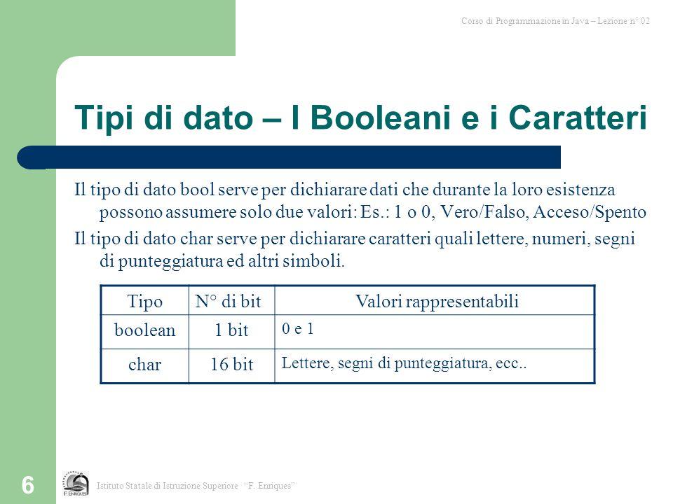 Tipi di dato – I Booleani e i Caratteri