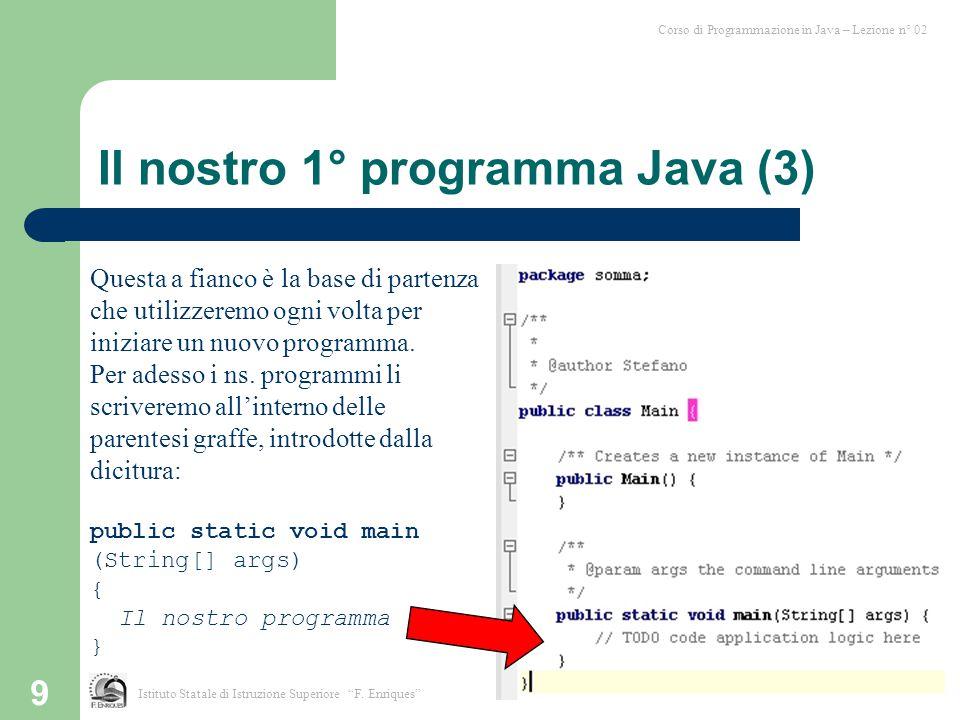 Il nostro 1° programma Java (3)