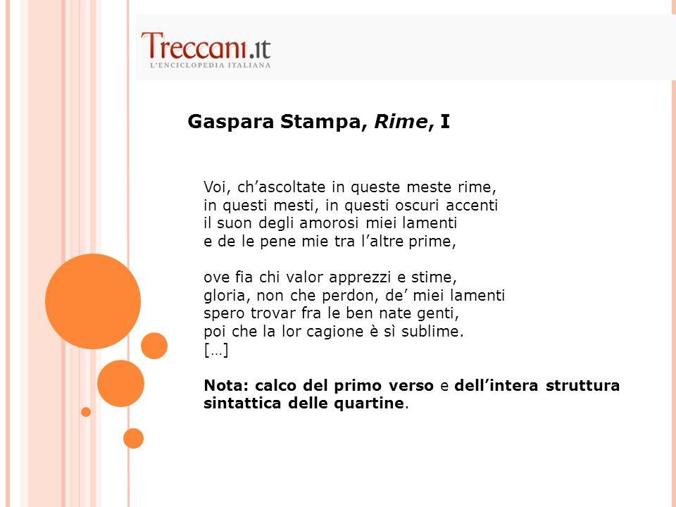Gaspara Stampa, Rime, I