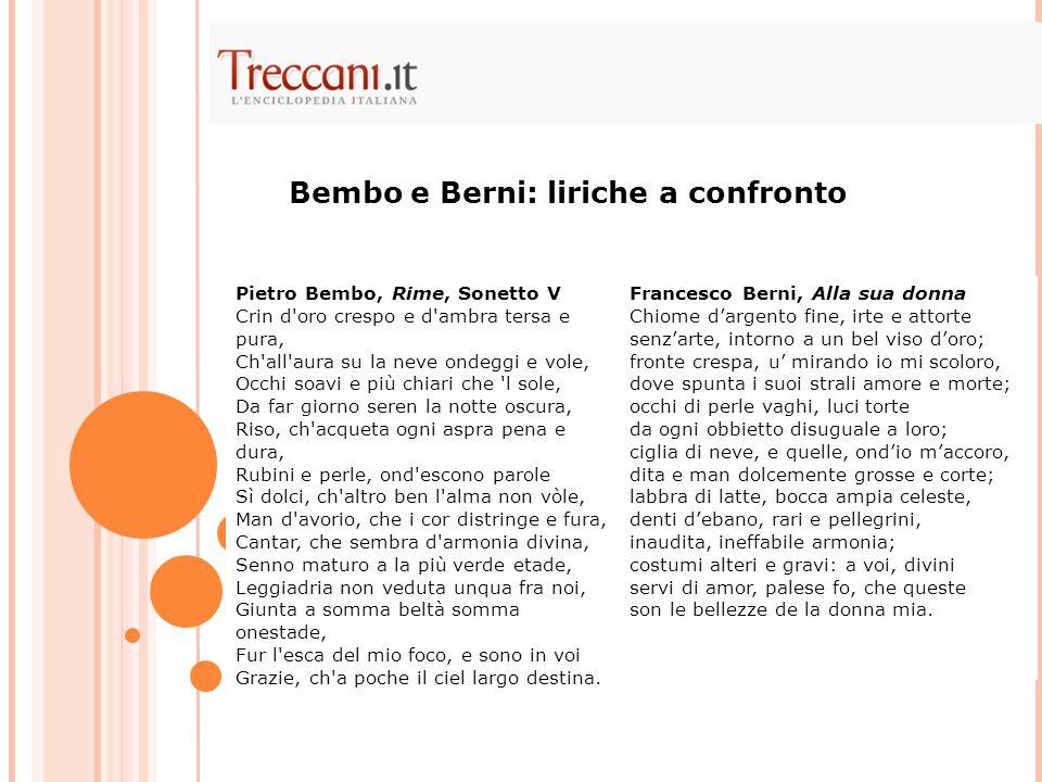 Bembo e Berni: liriche a confronto