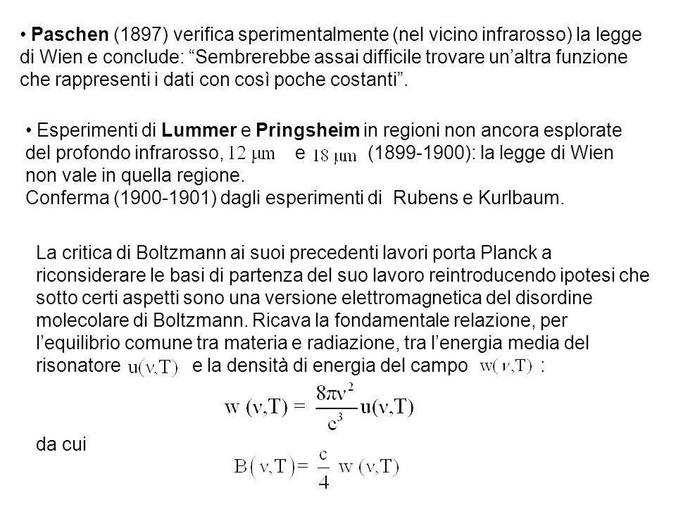 Paschen (1897) verifica sperimentalmente (nel vicino infrarosso) la legge