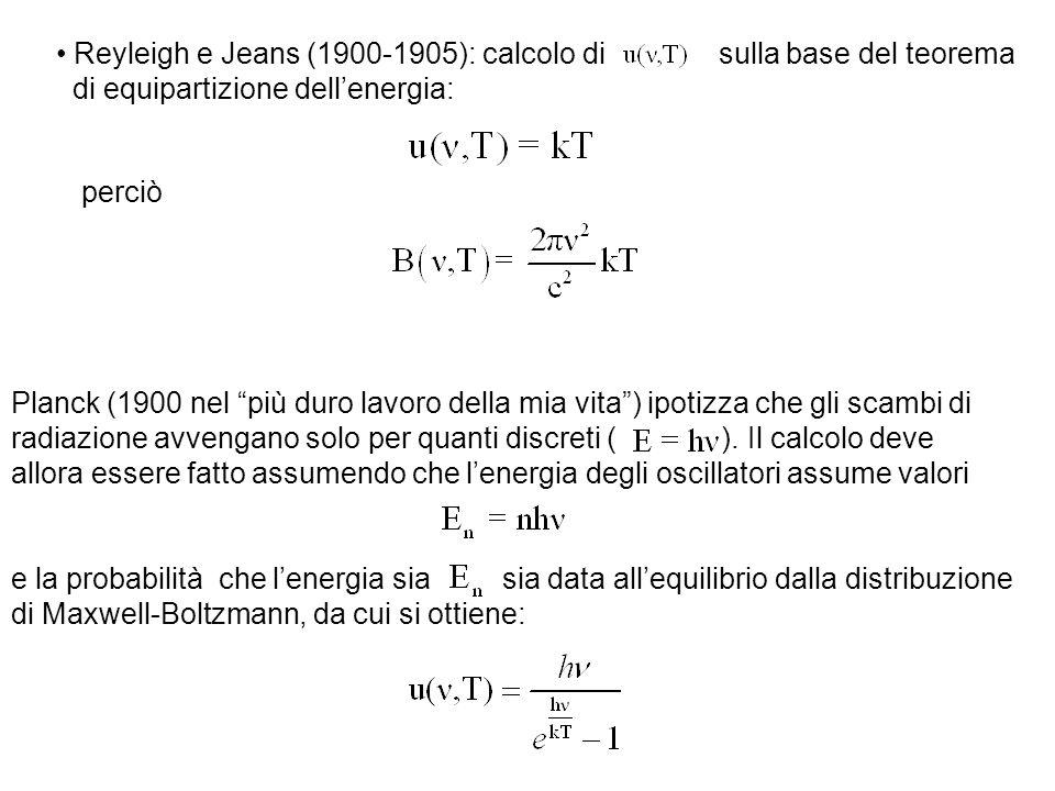Reyleigh e Jeans (1900-1905): calcolo di sulla base del teorema