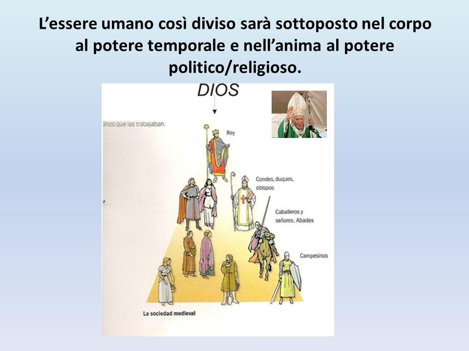 L'essere umano così diviso sarà sottoposto nel corpo al potere temporale e nell'anima al potere politico/religioso.
