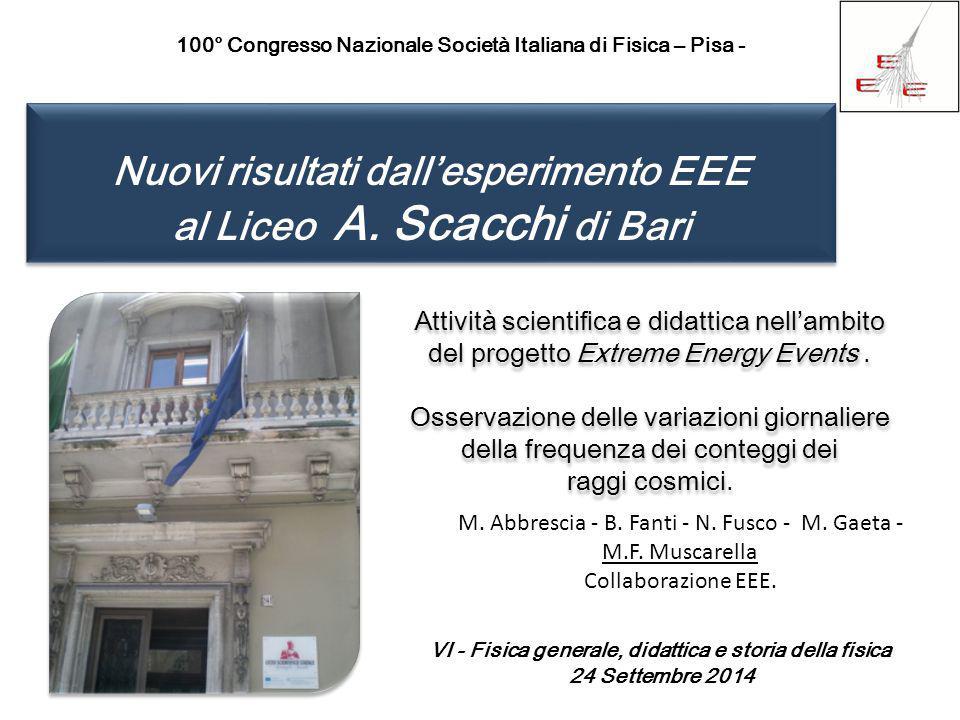 Nuovi risultati dall'esperimento EEE al Liceo A. Scacchi di Bari