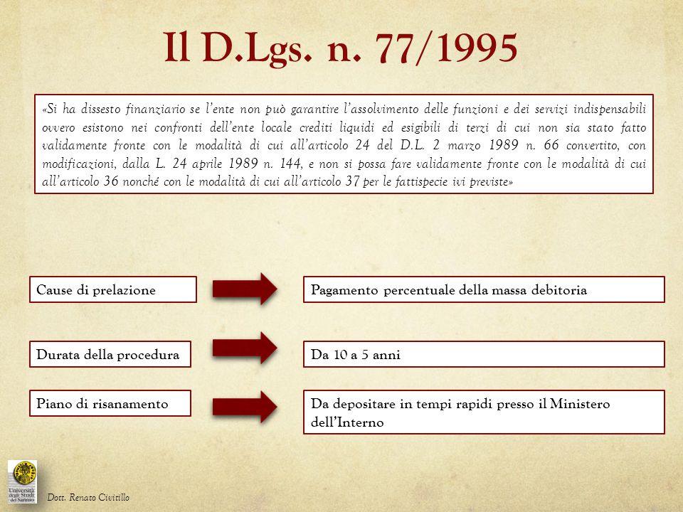 Il D.Lgs. n. 77/1995