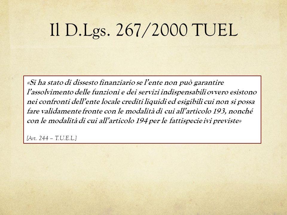Il D.Lgs. 267/2000 TUEL