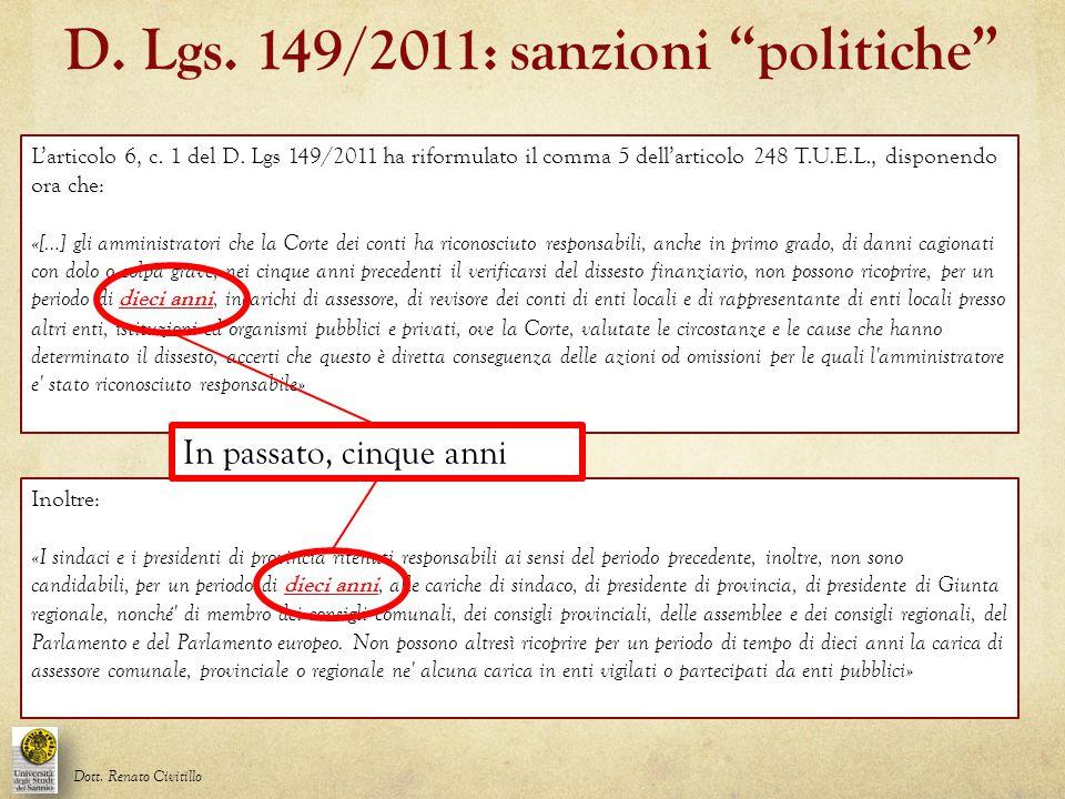 D. Lgs. 149/2011: sanzioni politiche