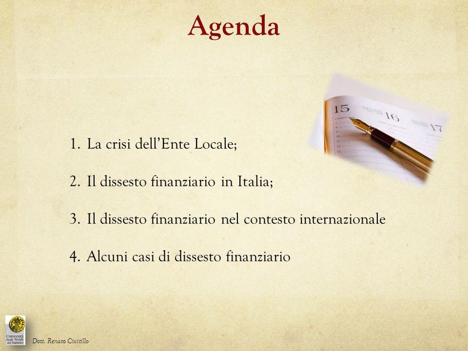 Agenda La crisi dell'Ente Locale; Il dissesto finanziario in Italia;