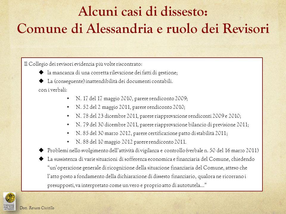 Alcuni casi di dissesto: Comune di Alessandria e ruolo dei Revisori