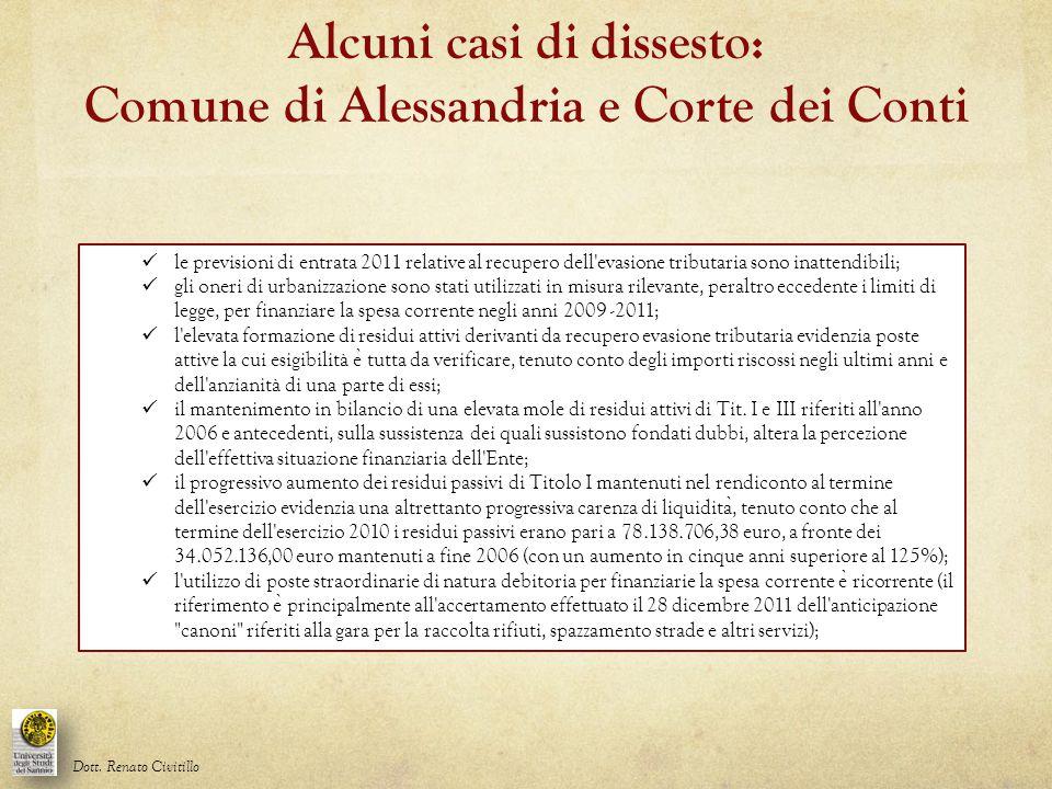 Alcuni casi di dissesto: Comune di Alessandria e Corte dei Conti
