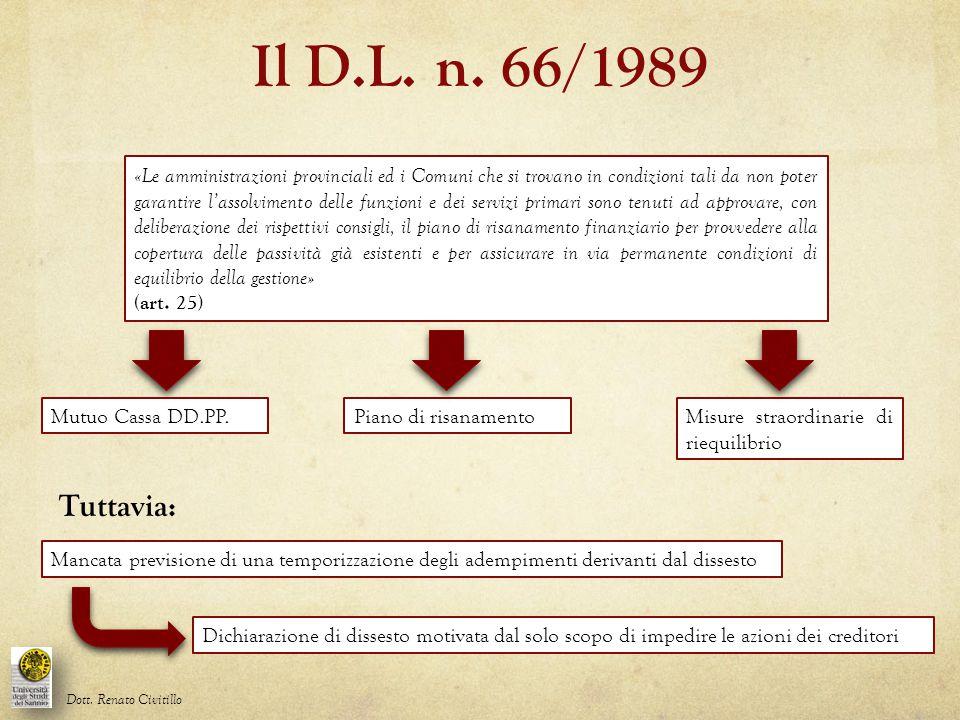 Il D.L. n. 66/1989
