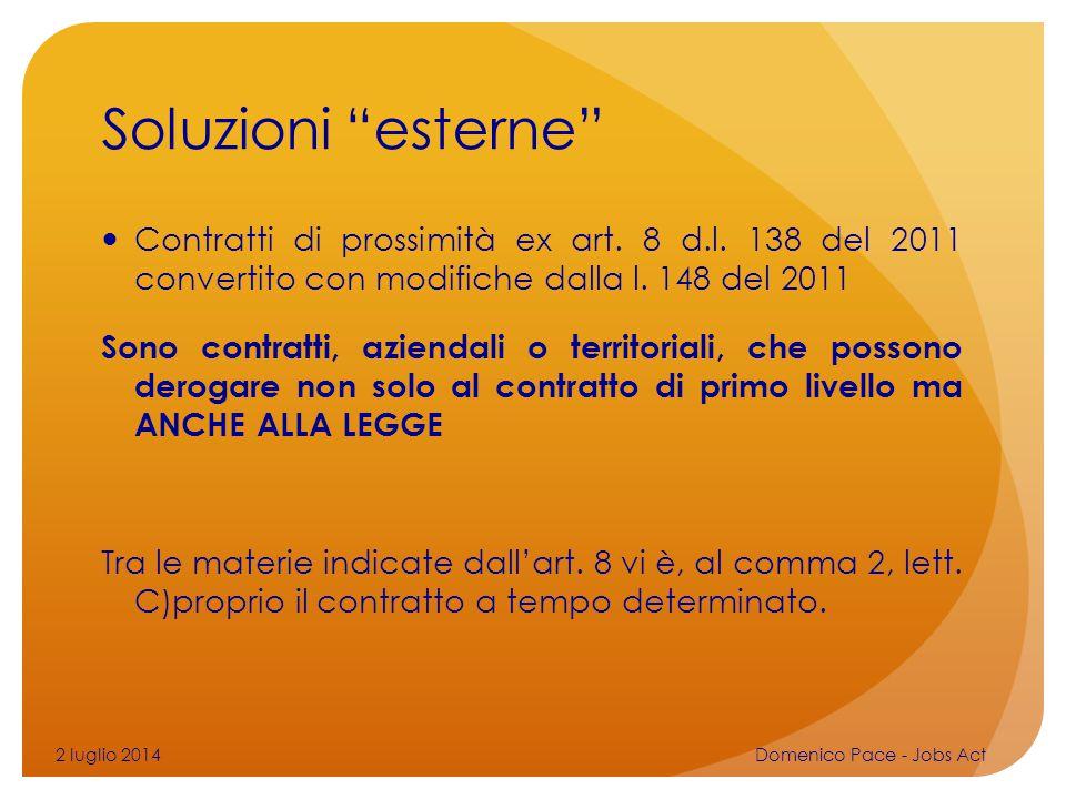 Soluzioni esterne Contratti di prossimità ex art. 8 d.l. 138 del 2011 convertito con modifiche dalla l. 148 del 2011.