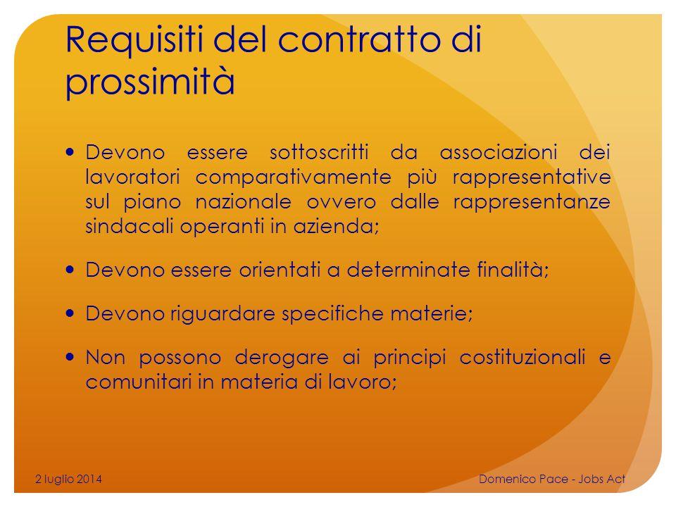 Requisiti del contratto di prossimità