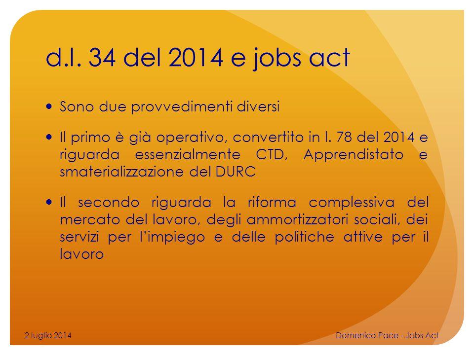 d.l. 34 del 2014 e jobs act Sono due provvedimenti diversi