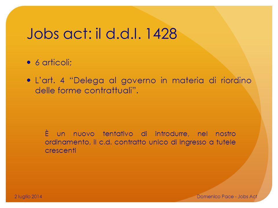 Jobs act: il d.d.l. 1428 6 articoli;