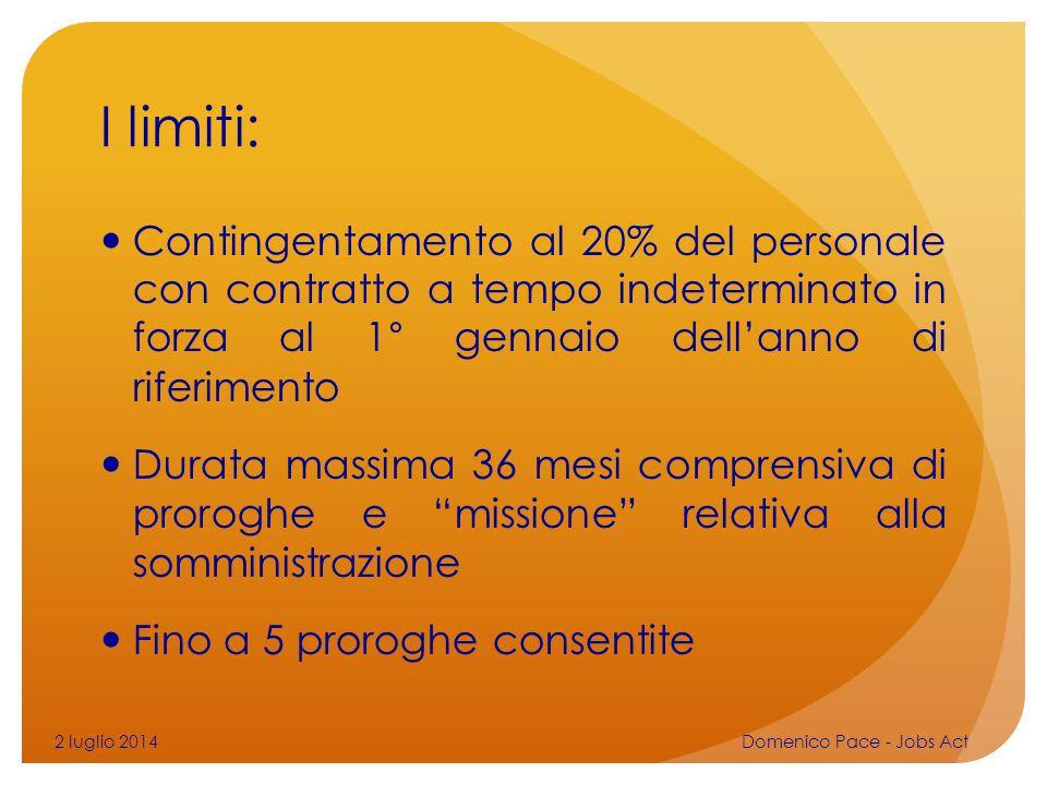 I limiti: Contingentamento al 20% del personale con contratto a tempo indeterminato in forza al 1° gennaio dell'anno di riferimento.