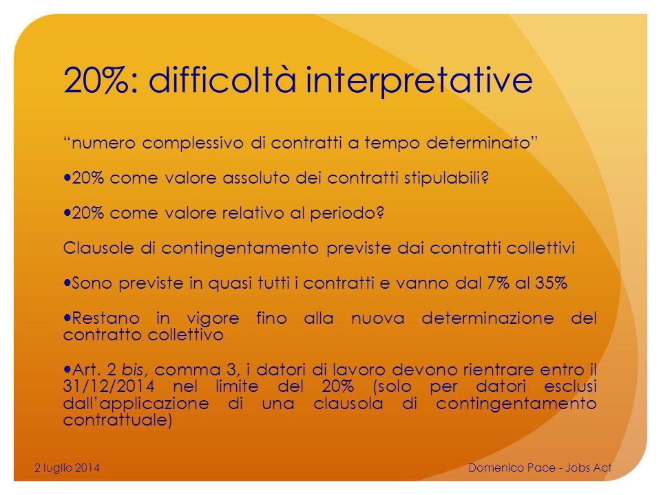 20%: difficoltà interpretative