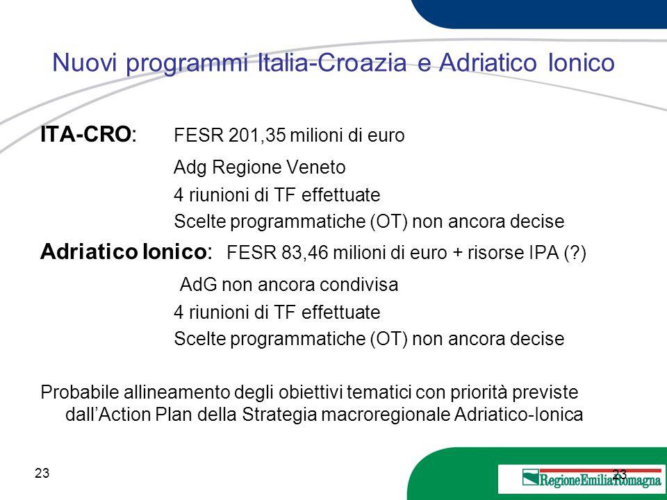 Nuovi programmi Italia-Croazia e Adriatico Ionico