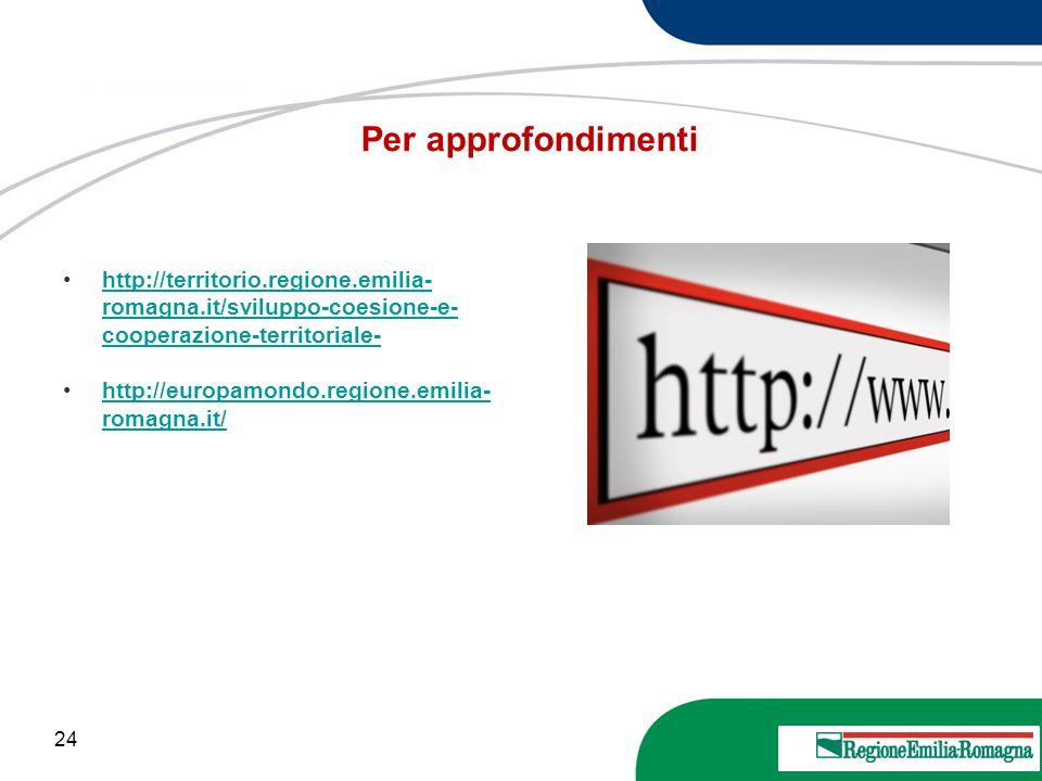 Per approfondimenti http://territorio.regione.emilia-romagna.it/sviluppo-coesione-e-cooperazione-territoriale-