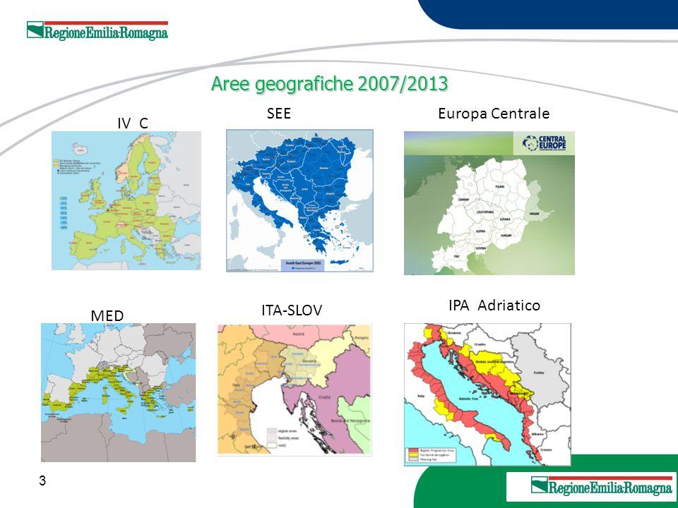 Aree geografiche 2007/2013 SEE Europa Centrale IV C IPA Adriatico