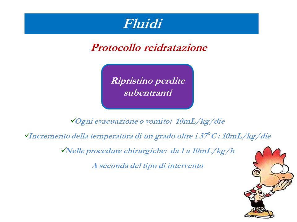 Fluidi Protocollo reidratazione Ripristino perdite subentranti