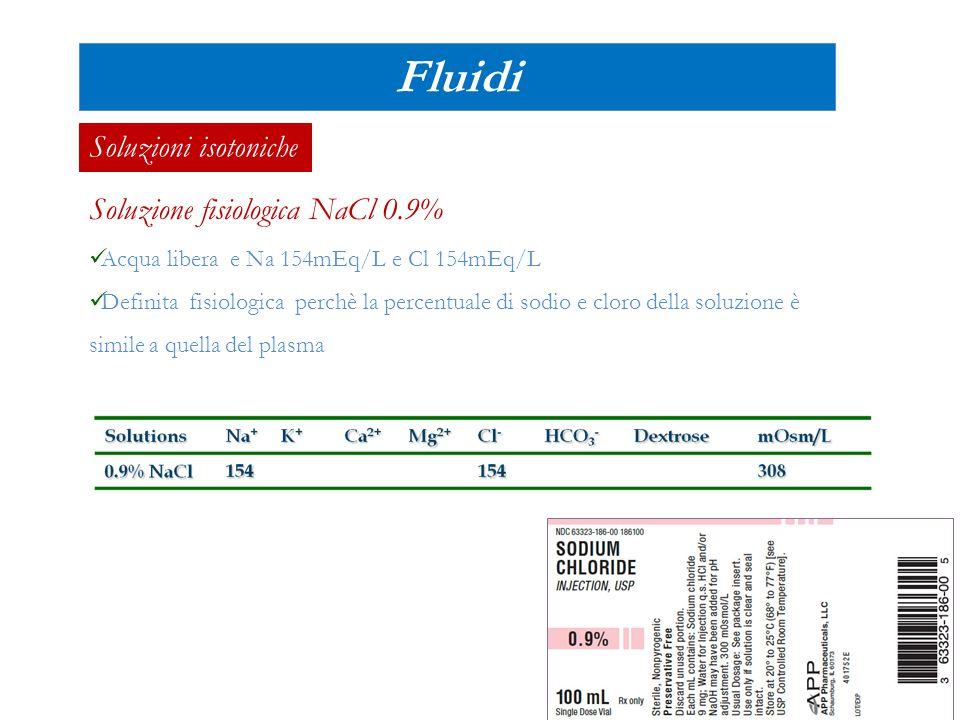 Fluidi Soluzioni isotoniche Soluzione fisiologica NaCl 0.9%