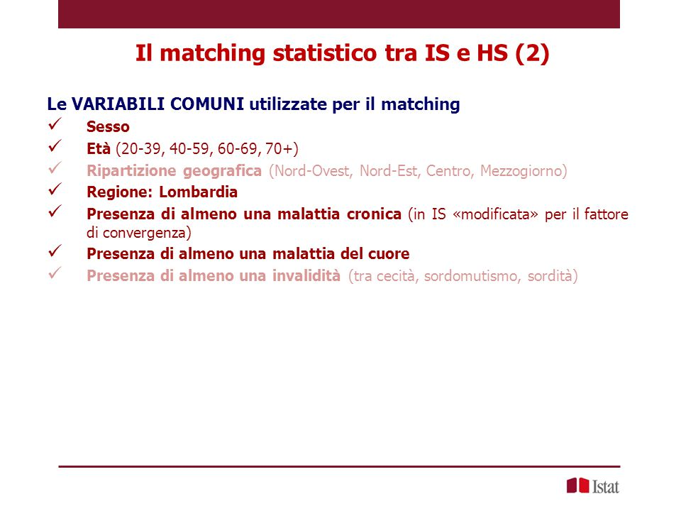 Il matching statistico tra IS e HS (2)
