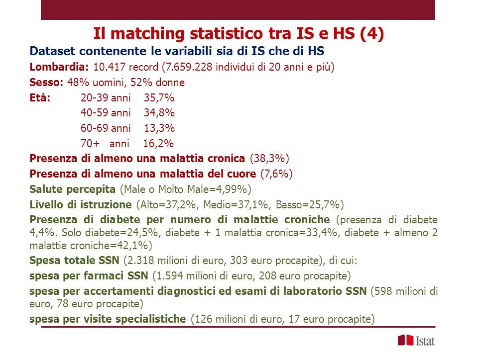 Il matching statistico tra IS e HS (4)