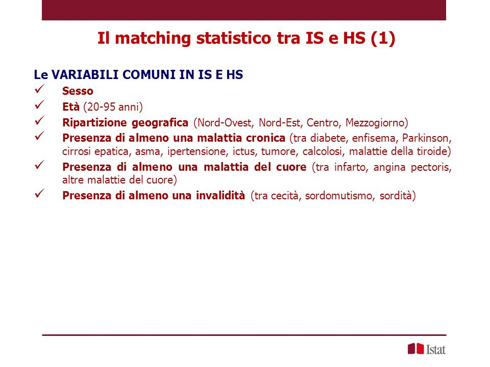 Il matching statistico tra IS e HS (1)