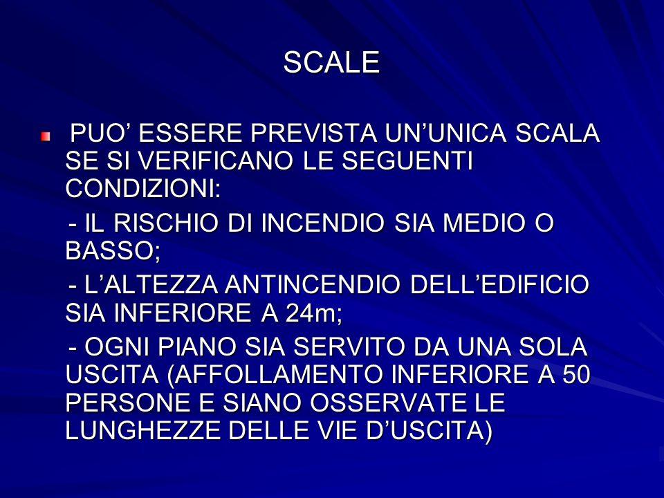 SCALE - IL RISCHIO DI INCENDIO SIA MEDIO O BASSO;